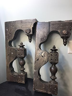 PAIR Victorian Ornate Corbels Architectural Brackets Carved Finials Antique