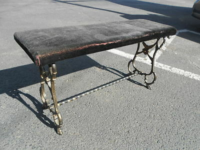 VINTAGE 1800's VICTORIAN WROUGHT IRON VANITY/PIANO BENCH CLAW FEET VELVET SEAT