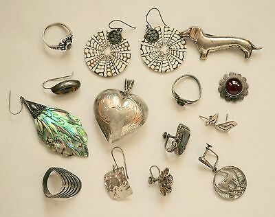 Vintage lot marked sterling silver Mexico/Taxco style jewelry wear/craft 925 64g