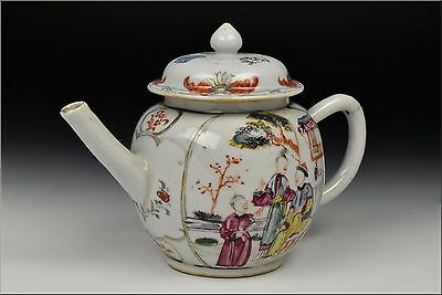 18th Century Chinese Export Famille Rose Porcelain Teapot w/ Character Scenes