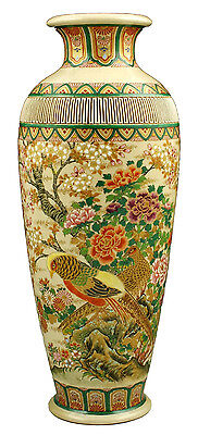 Beautiful Signed Japanese Meiji Period Satsuma Vase w/ Birds
