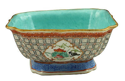 Antique Chinese Famille Rose Square Bowl w/ Blue Interior