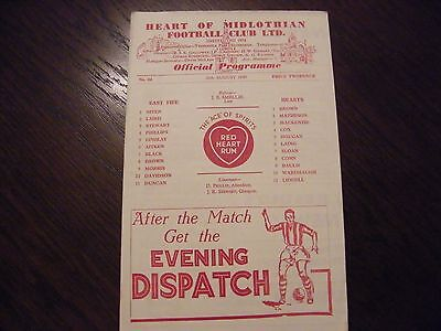 Hearts of Midlothian versus East fife 1949 season football  programme