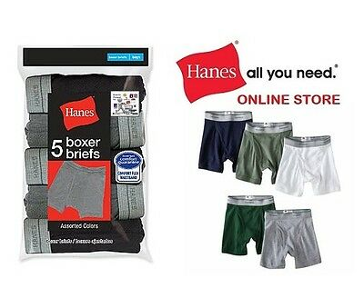 Hanes Boys' Comfort Flex Waistband Cotton Boxer Briefs in Assorted Colors 5-Pack