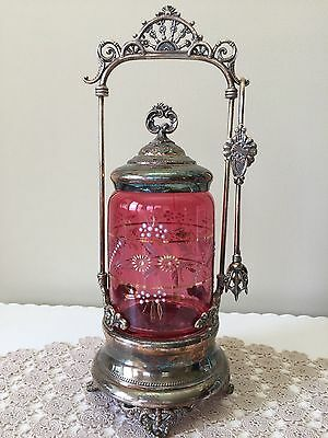 Antiques Embossed Handpainted Floral On Cranberry Glass Pickle Castor With Tongs