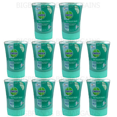10 x Dettol No Touch Hand Wash Refill Cucumber Soap Anti Bacterial 10 Pack 250ml
