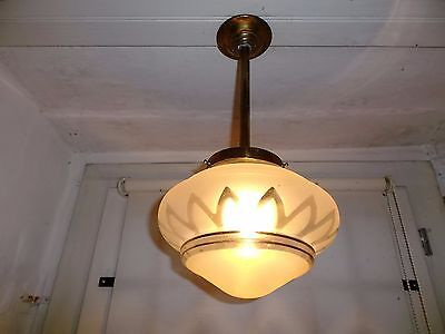 French vintage c.1940 classic ceiling light nicely  frosted glass shade