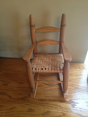 Vintage CHILDS Doll ROCKING CHAIR Woven SEAT Rocker Primitive Old Great Patina