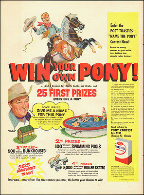 1960 vintage Ad ROY ROGERS  Post Toasties Cereal  Win a Pony Contest ! (093014)