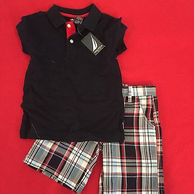 NWT ~ Nautica Toddler Boys Black Polo 2pc Short Set Size 4T