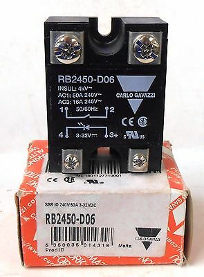 Carlo Gavazzi Rb2450-D06 Solid State Relay, 50 Amp, 240 Volts, 3-32 Vdc