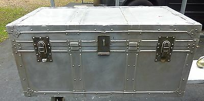 Vintage Steamer Aluminum Trunk Flat Top Storage Coffee Table Steampunk