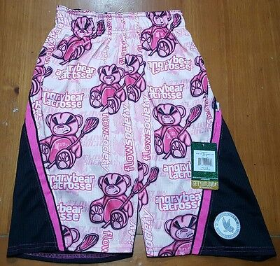 Flow Society Shorts ANGRY BEAR Lacrosse Youth Kids SIZE XS Extra Small Pink