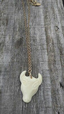 Bone carved cow pendant necklace, India? 6