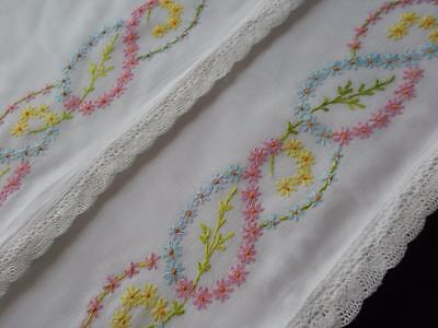 PAIR Set Vintage Pillowslips Pillowcases Hand Embroidered Pink & Yellow & Blue