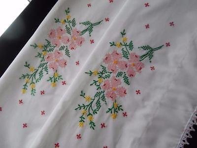 PAIR Set Vintage Pillowslips Pillowcases Hand Embroidered Pink & Yellow Flowers