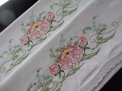 PAIR Set Vintage Pillowslips Pillowcases Hand Embroidered Crochet Pink Lily!