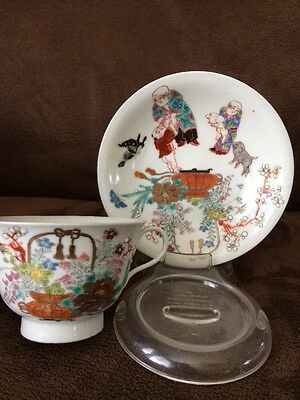 FINE ANTIQUE CHINESE CUP & SAUCER Asian Antique HAND PAINTED