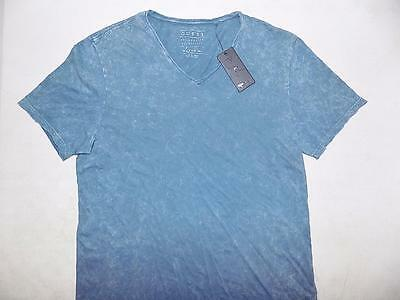Guess Men's Short Sleeve Casual V Neck Shirt 100% Cotton Blue NWT Size M