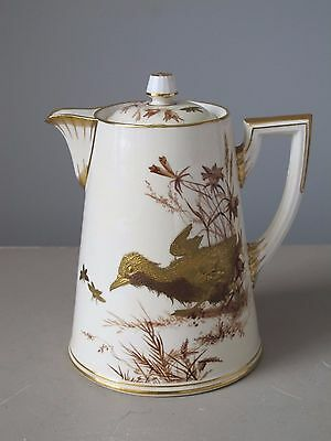 Antique Brownfield for Tiffany & Co Gilt Porcelain Demitasse Chocolate Pot Gold