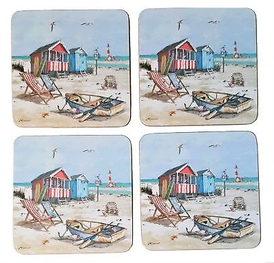 Set of 4 Coasters Sandy Bay Cork Backed Coaster Mat by Macneil