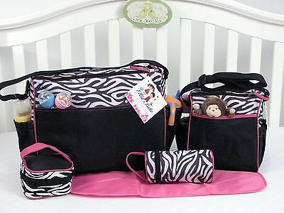 Baby Diaper Bags For Girls Designer 5 Piece Changing Pad Case Shower Gift Zebra