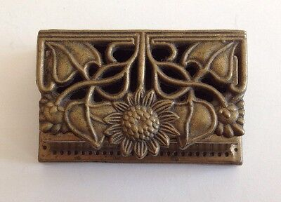 Antique Brass Metal Stamp Box Art Nouveau Arts & Crafts Sunflower Vintage