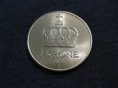 "1991 Norway Coin, 1 Krone ,  ""Crown"",   uncirculated beauty  King Olav"