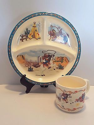 Childs COWBOY devided Plate and matching Cup melamine ware by PECO