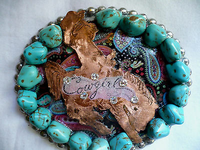 "Western, Rodeo Cowgirl Belt Buckle, 4.5"" Oval,Friendze, Handmade, Faux Turquoise"