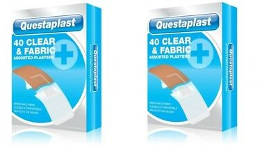 2 x Questaplast 40 Pack Assorted Clear & Breathable Fabric First Aid Plasters