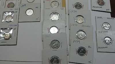 1940   1989 Canadian Dimes  BU AND HIGH GRADE + SILVER    --   19 coins