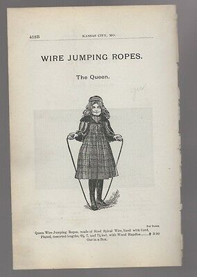 1898 ad advertising antique QUEEN WIRE JUMPING ROPE Girl jumping rope
