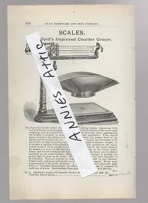1898 ad advertising antique SPAFFORD IMPROVED COUNTER GROCER SCALE grocery store