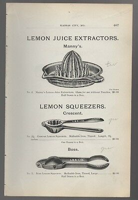 1898 ad advertising antique MANNY 'S LEMON JUICE EXTRACTOR &  CRESCENT SQUEEZER