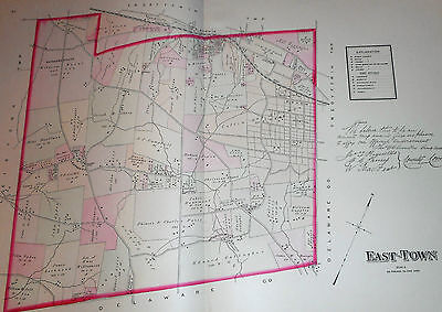 East Town Township Chester County Pa 1883 Large Color Map Devon Berwyn Paoli