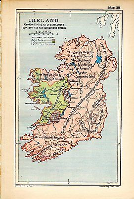 1912 ORIGINAL map Ireland Act of Settlement 26th September Subsequent Orders 38