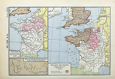1905 map France Accession 987 AD England France after Battle TENCHEBRAY Stard 32
