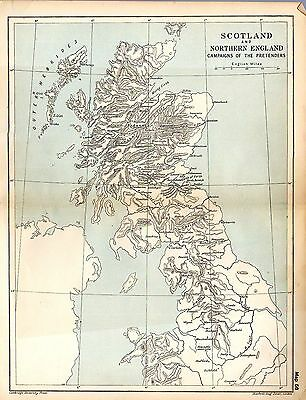 1912 ORIGINAL map Scotland and Northern England Campaigns of Pretenders 56