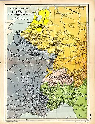 1912 ORIGINAL map Eastern Frontier of France Revolutionary Campaigns 1792-5 81
