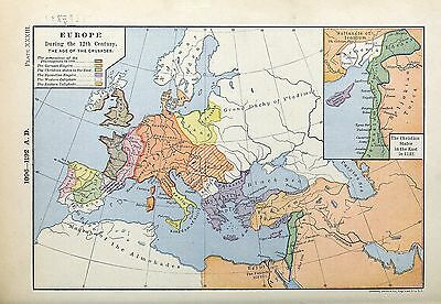 1905 map Europe Twelfth Century Crusades Possessions Christian States 1142 AD 33