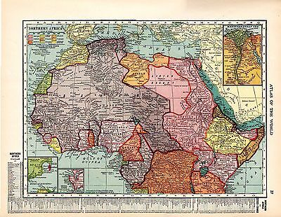 1912 TWO ORIGINAL MAPS Central Southern Africa and Northern Africa CRAM ATLAS