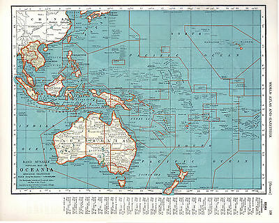 1940 Two ORIGINAL MAPS Australia and Oceania RAND MCNALLY ATLAS