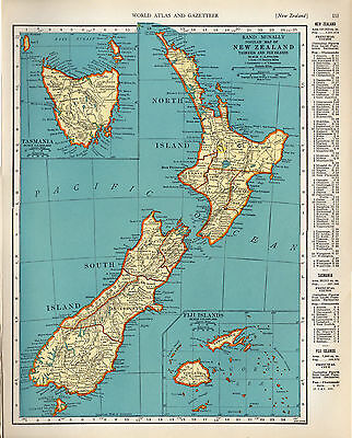1940 ORIGINAL MAPS Solar System and New Zealand Tasmania Fiji RAND MCNALLY ATLAS