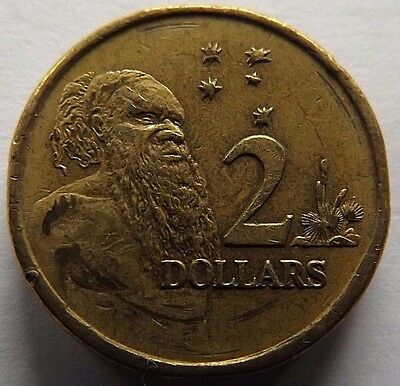 1990 Australia 2 Dollars! Very High Grade! Aboriginal Man On Reverse!