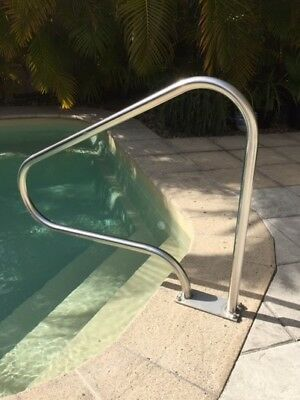 """Swimming Pool Step Hand Grab Rail """"BOLT DOWN LONG"""" Stainless Steel"""
