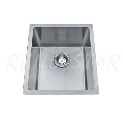 380*440*200mm Stainless Steel 1 Bowl Kitchen Laundry Square Sink Round Corner