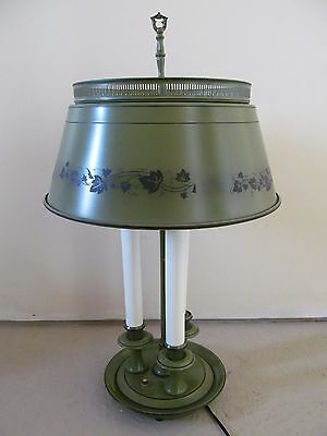 Vintage Olive Green Metal Toleware Lamp 3 Light Twist Button Ivy Tole Colonial