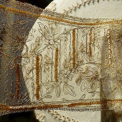 Antique French Gold Metal Embroidered Net Lace