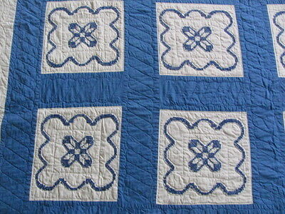 Vintage cotton hand embroidered royal blue quilt hand quilted tiny stitches